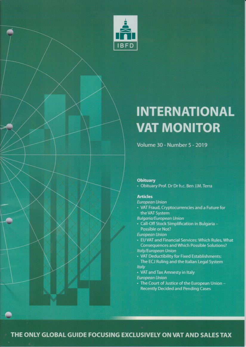 International VAT Monitor Vol. 30 No. 5 - 2019