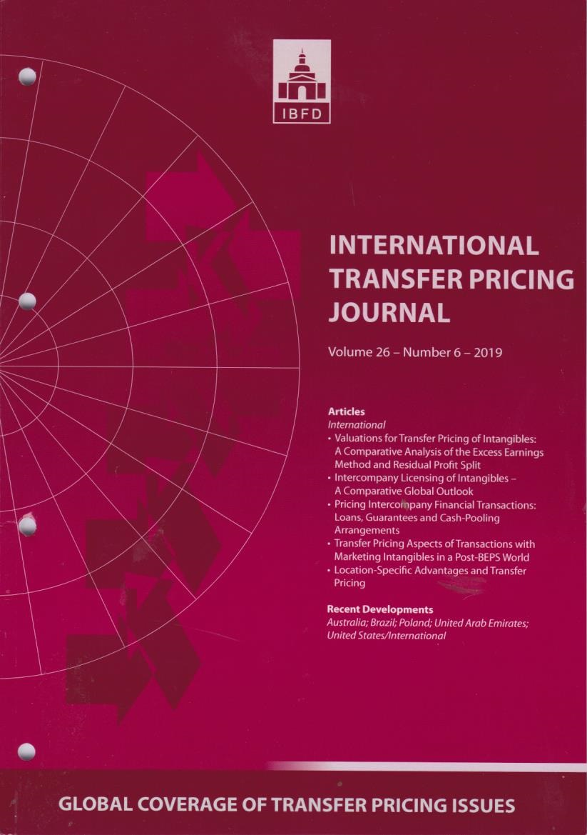 International Transfer Pricing Journal Vol. 26 No. 6 - 2019