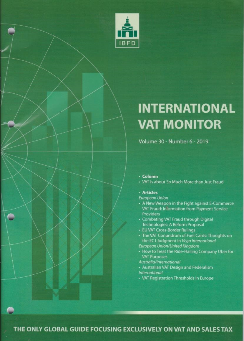 International VAT Monitor Vol. 30 No. 6 - 2019