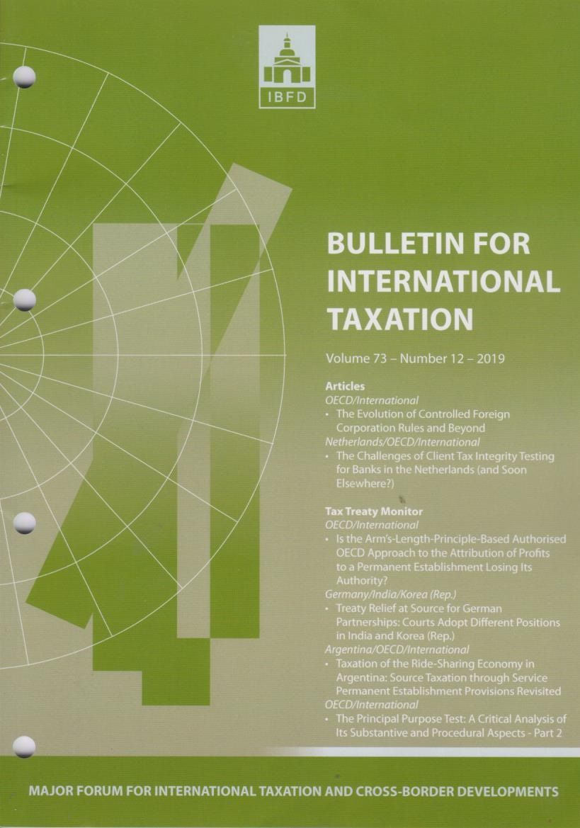 Bulletin for International Taxation Vol. 73 No. 12 - 2019