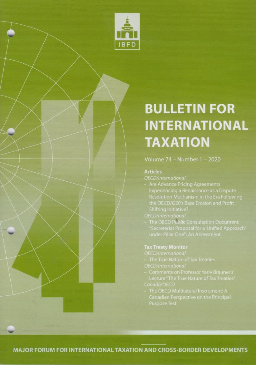 Bulletin for International Taxation Vol. 74 No. 1 - 2020