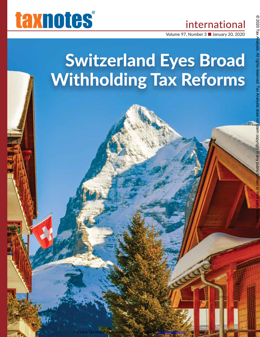 Tax Notes International: Volume 97, Number 3, January 20, 2020