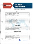 Tax Notes International: Volume 47, Number 9, August 27, 2007